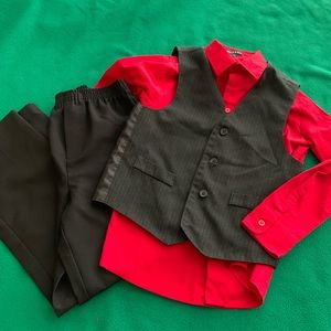 Boys size 8 tux outfit with 2 additional shirts
